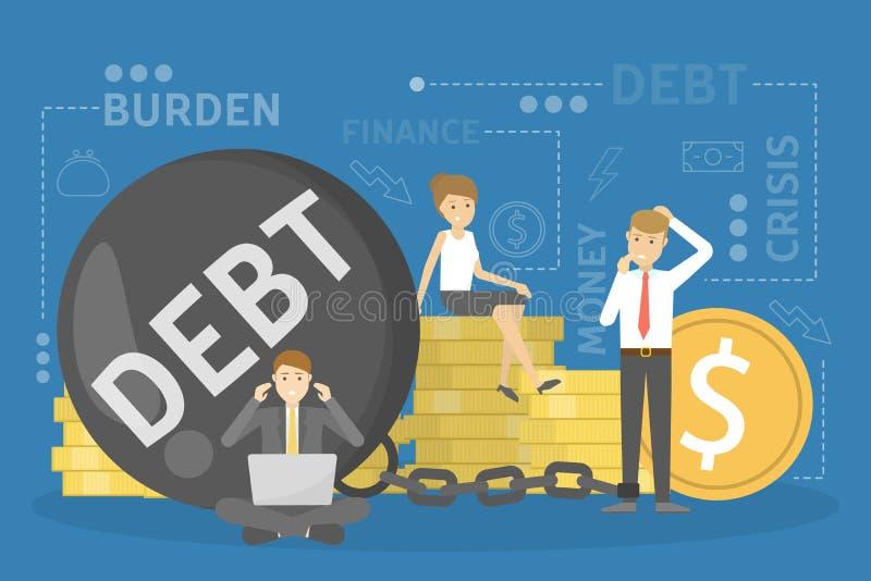 Concept de dette Problème avec des finances Grande panne illustration de vecteur