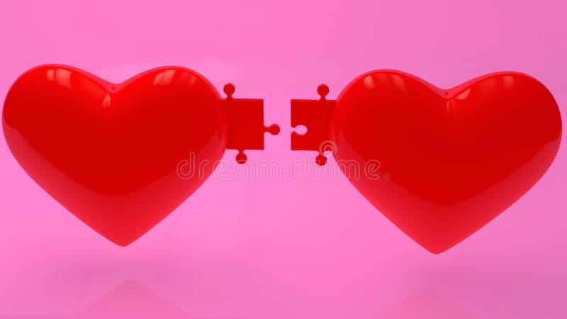 Concept de deux coeurs rouges avec des morceaux de puzzle sur le fond rose illustration stock