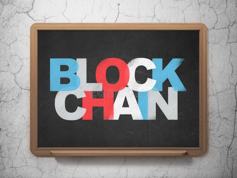 Concept de devise : Blockchain sur le fond de conseil pédagogique illustration de vecteur