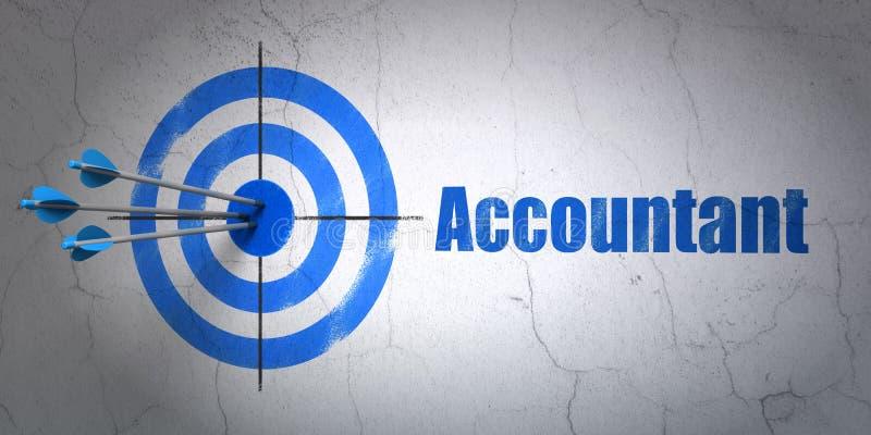 Concept de devise : cible et comptable sur le fond de mur illustration stock