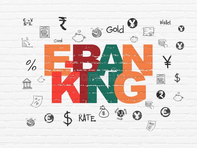 Concept de devise : Services bancaires en ligne sur le fond de mur illustration libre de droits