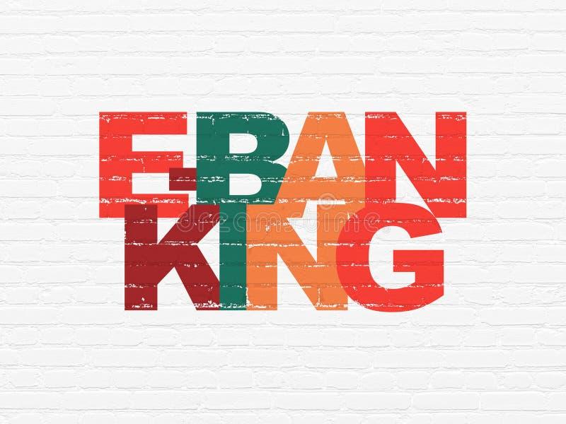 Concept de devise : Services bancaires en ligne sur le fond de mur illustration stock