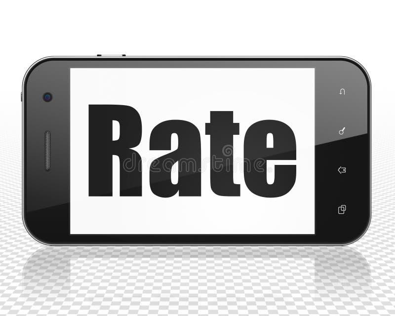 Concept de devise : Smartphone avec le taux sur l'affichage illustration libre de droits
