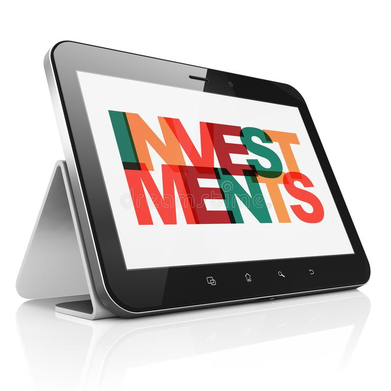 Concept de devise : Tablette avec des investissements sur l'affichage illustration de vecteur