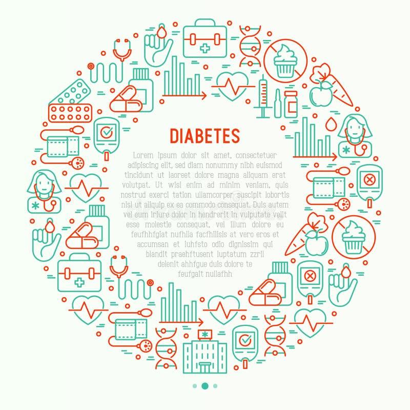 Concept de diabète en cercle avec la ligne mince icônes illustration libre de droits
