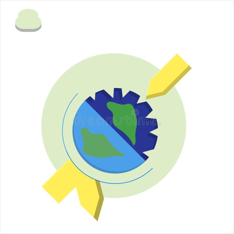 Concept de différents types appauvrissement de la couche d'ozone de réchauffement global de la terre de planète illustration stock