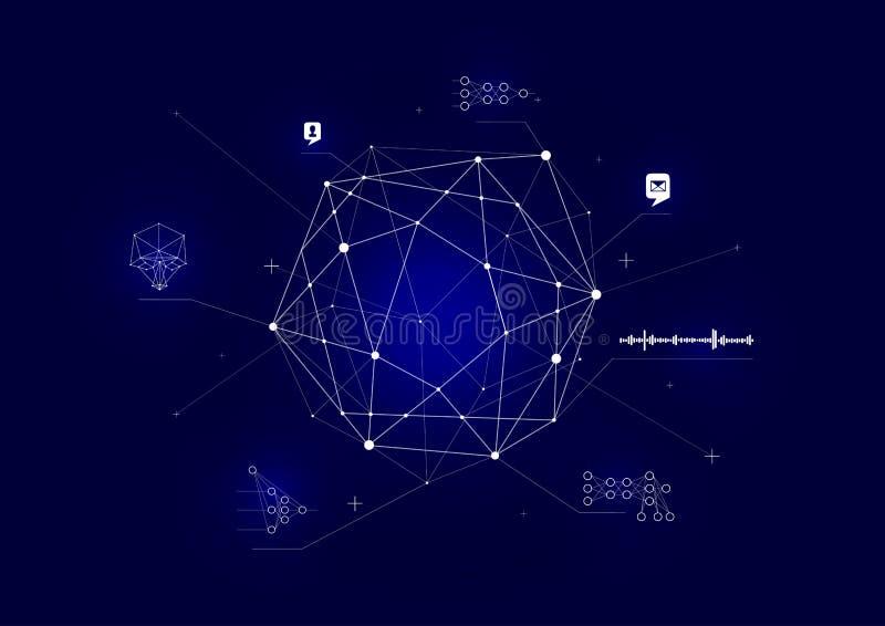 Concept de Digital, système de contrôle intelligent Analyse et traitement de tous les types de données, concept illustration stock
