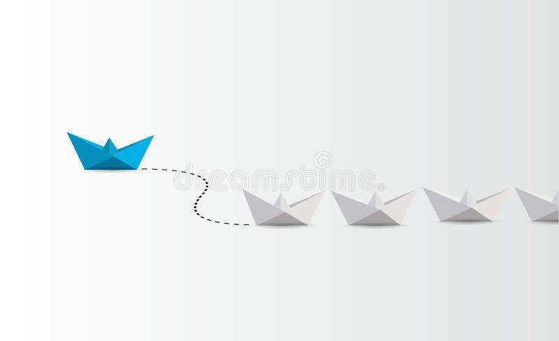 Concept de direction blanc principal de bateau de papier bleu illustration de vecteur