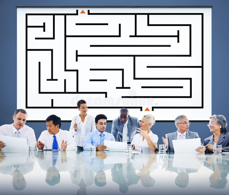Concept de direction de Maze Strategy Success Solution Determination photographie stock libre de droits