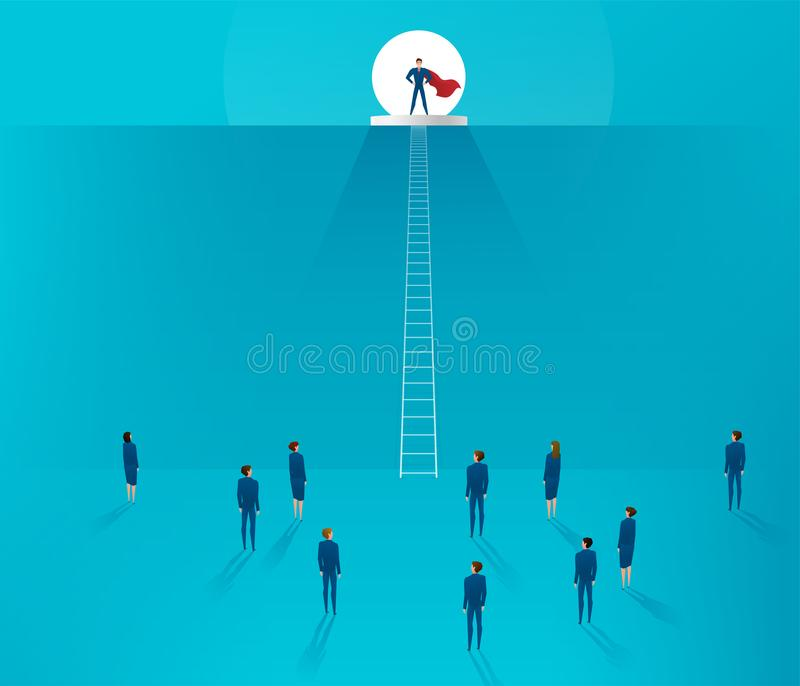 Concept de direction L'homme d'affaires se tenant sur une colline, l'équipe est au fond illustration de vecteur