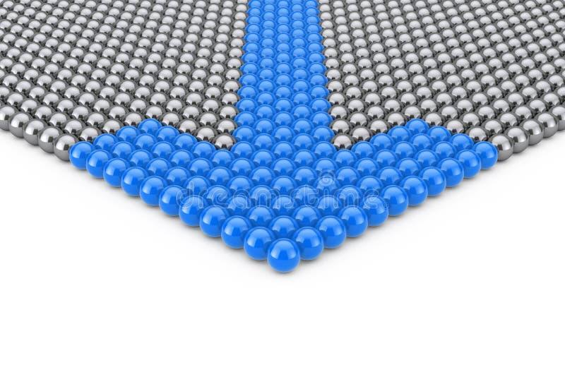 Concept de direction Rangées des sphères de Chrome avec la flèche bleue Spher illustration libre de droits