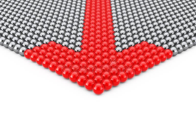 Concept de direction Rangées des sphères de Chrome avec la sphère rouge de flèche illustration stock