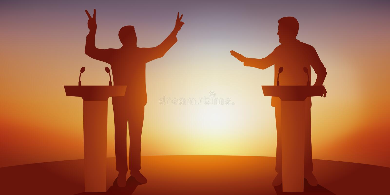 Concept de discussion politique avec deux adversaires qui confrontent leur programme derrière des bureaux illustration de vecteur