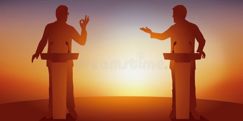 Concept de discussion politique avec deux adversaires qui confrontent leur programme derri?re des bureaux illustration libre de droits
