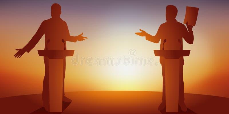 Concept de discussion politique avec deux adversaires qui confrontent leur programme derri?re des bureaux illustration de vecteur