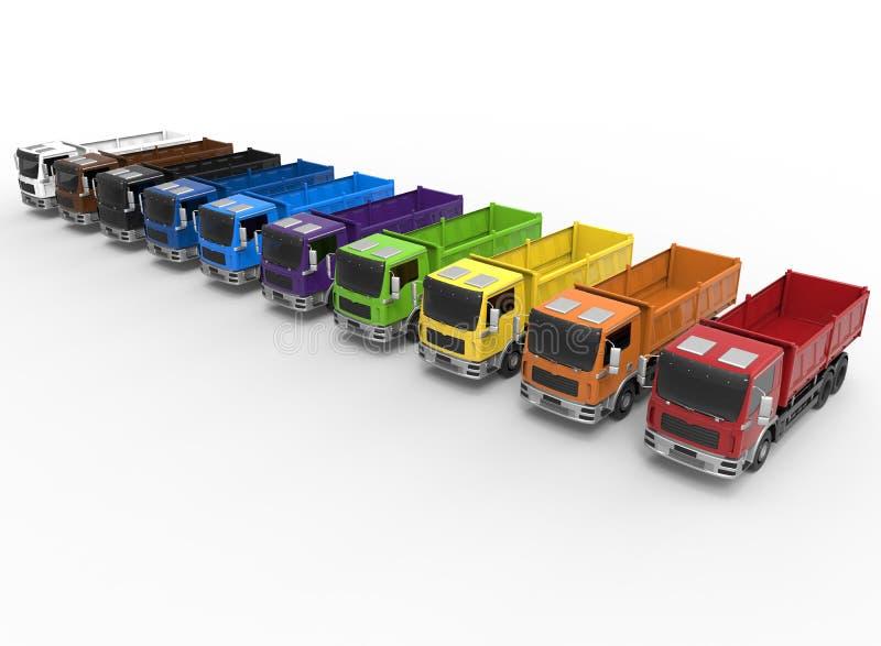 Concept de diversité de flotte de camions illustration stock