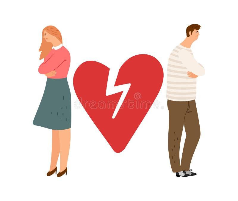 Concept de divorce Caractères ex de vecteur de couples Fille et gar?on f?ch?s illustration de vecteur