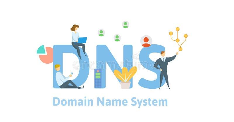 Concept de DNS, Domain Name System Dirigez l'illustration dans le style plat, d'isolement sur le fond blanc illustration libre de droits