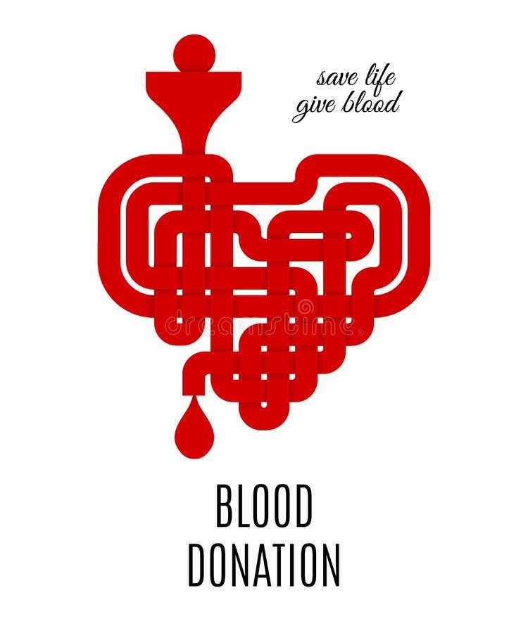Concept de don du sang avec le coeur noué par celtic rouge Illustration de vecteur illustration stock