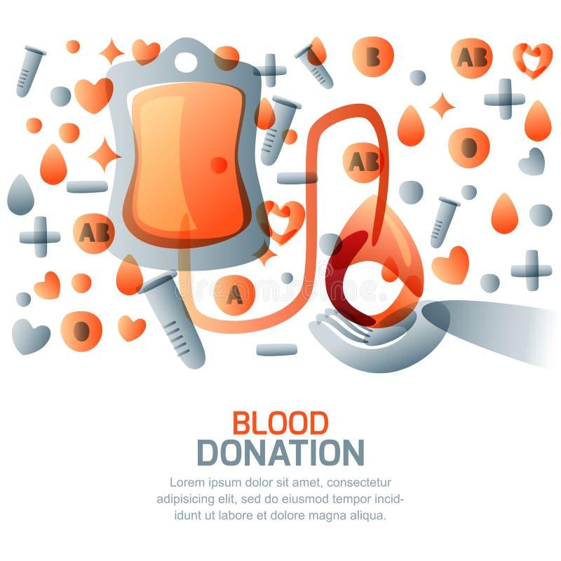 Concept de don du sang et de transfusion Illustration médicale d'isolement par vecteur Jour de donneur de sang du monde illustration libre de droits