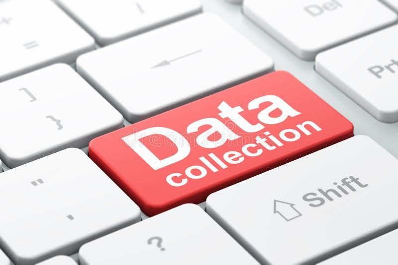 Concept de données : Collecte de données sur le fond de clavier d'ordinateur illustration stock