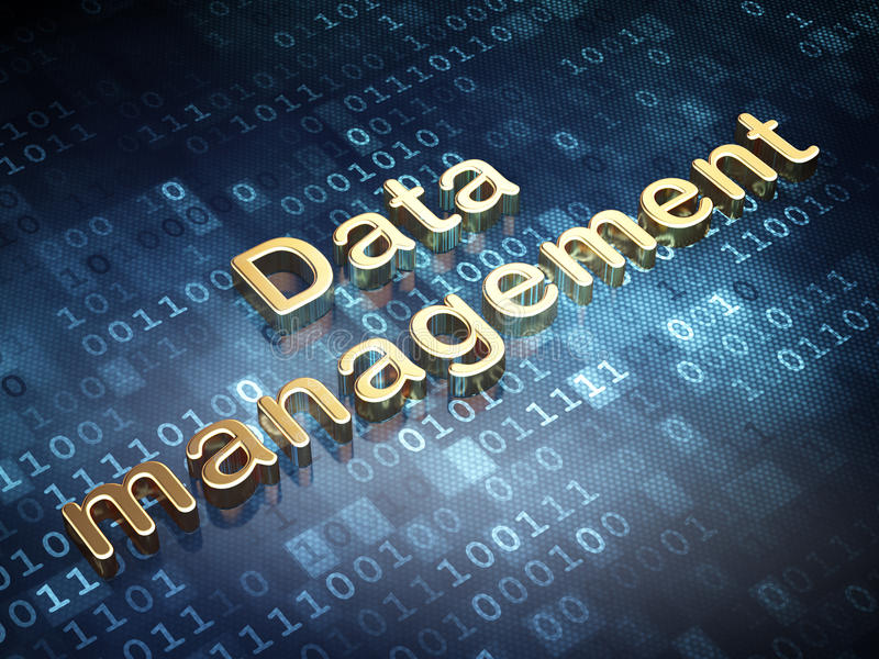 Concept de données : Gestion des données d'or sur le fond numérique illustration libre de droits