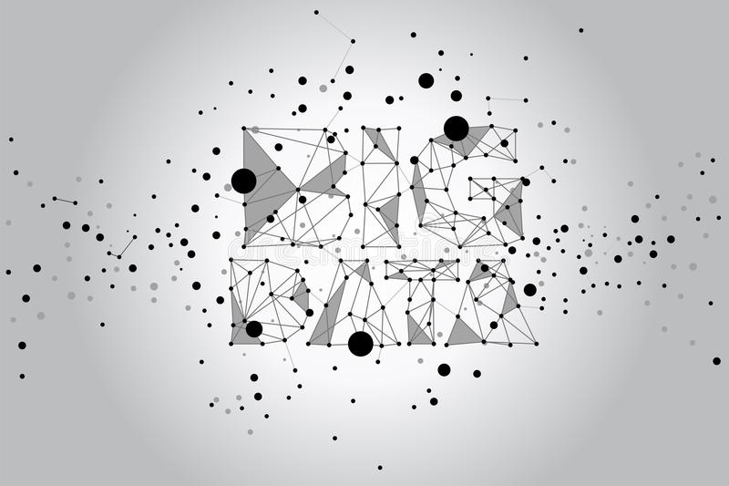 Concept de données relié par point de polygone grand illustration de vecteur