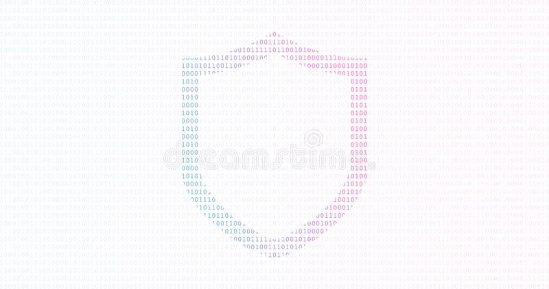 Concept de données de sécurité de cyber de technologie d'Internet avec les éléments binaires et le fond de bouclier illustration stock