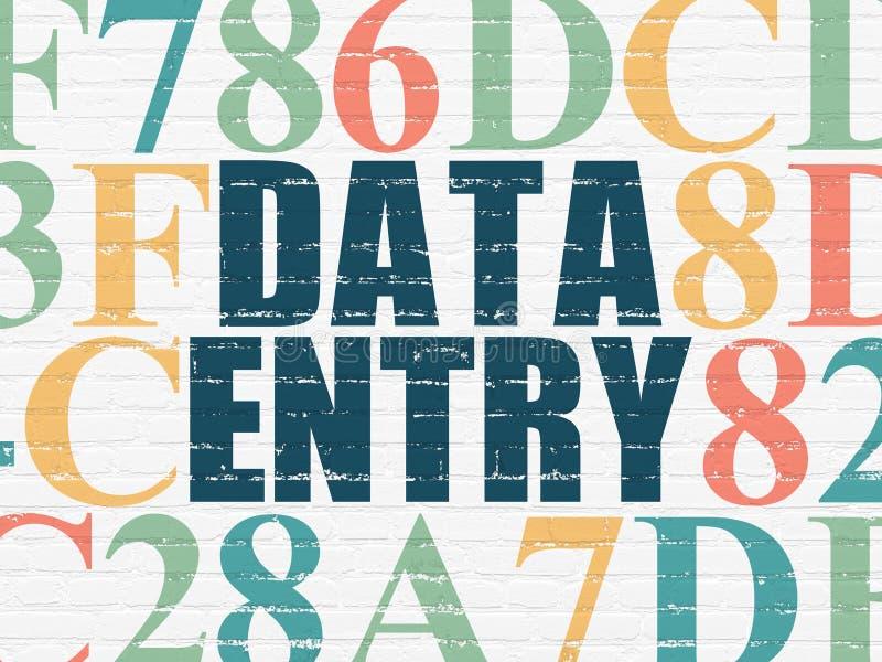 Concept de données : Saisie de données sur le fond de mur illustration stock