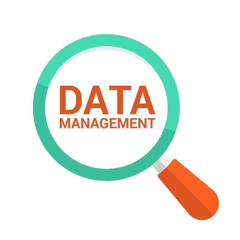 Concept de données : Verre optique de agrandissement avec la gestion des données de mots illustration stock