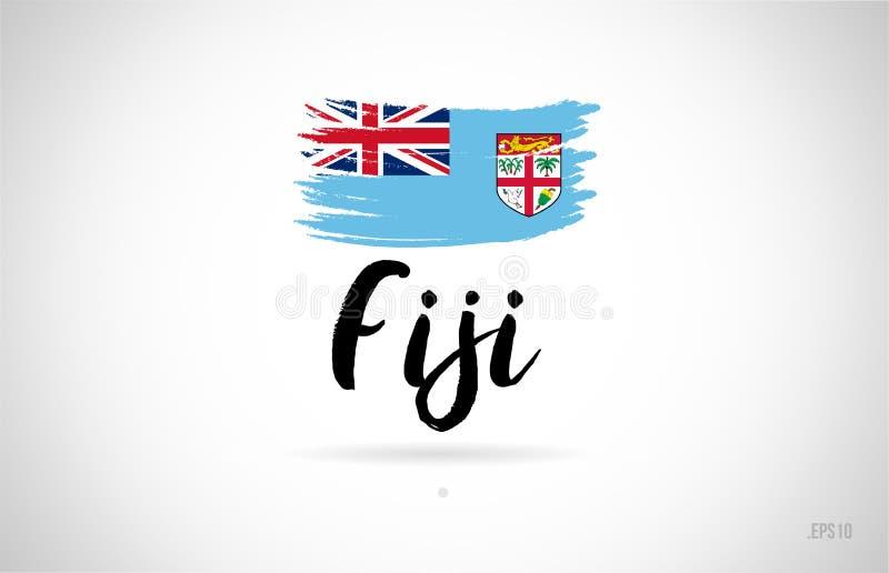 concept de drapeau de pays du Fiji avec le logo grunge d'icône de conception illustration stock