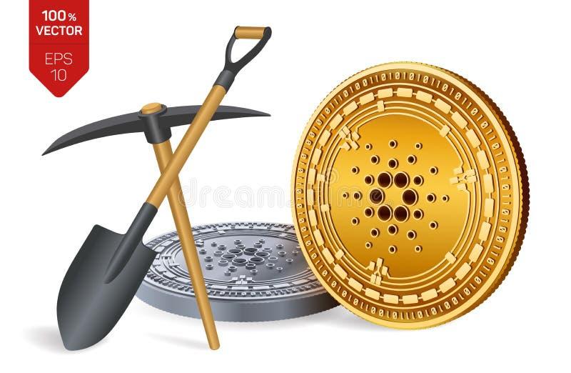 Concept de extraction de Cardano pièce de monnaie physique isométrique du peu 3D avec la pioche et la pelle Devise de Digital Cry illustration stock
