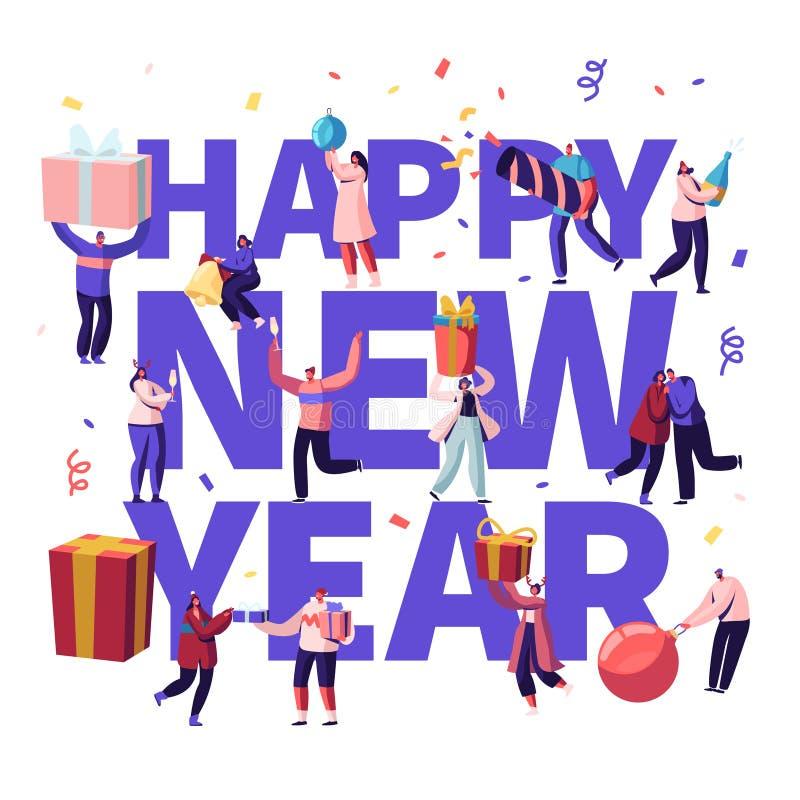Concept de fête du Nouvel An heureux Petits personnages masculins et féminins avec d'énormes cadeaux et une décoration festive, N illustration libre de droits