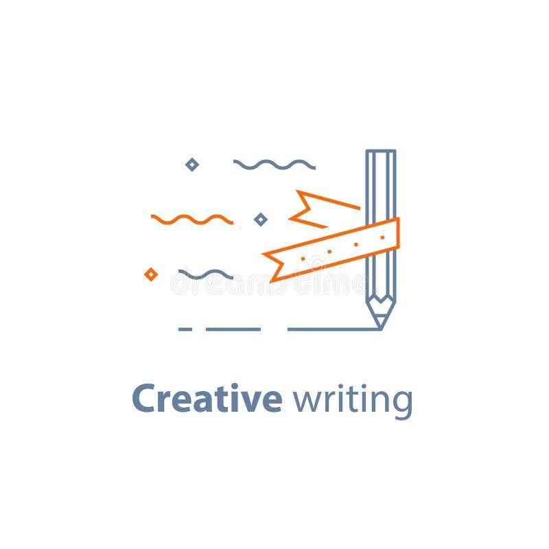 Concept de fabulation, écriture créative, crayon et ruban, rédaction publicitaire, icône linéaire illustration de vecteur