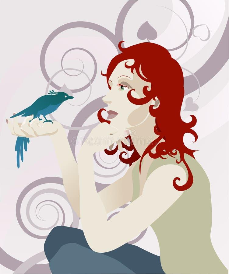 Concept de femme et d'oiseau illustration de vecteur