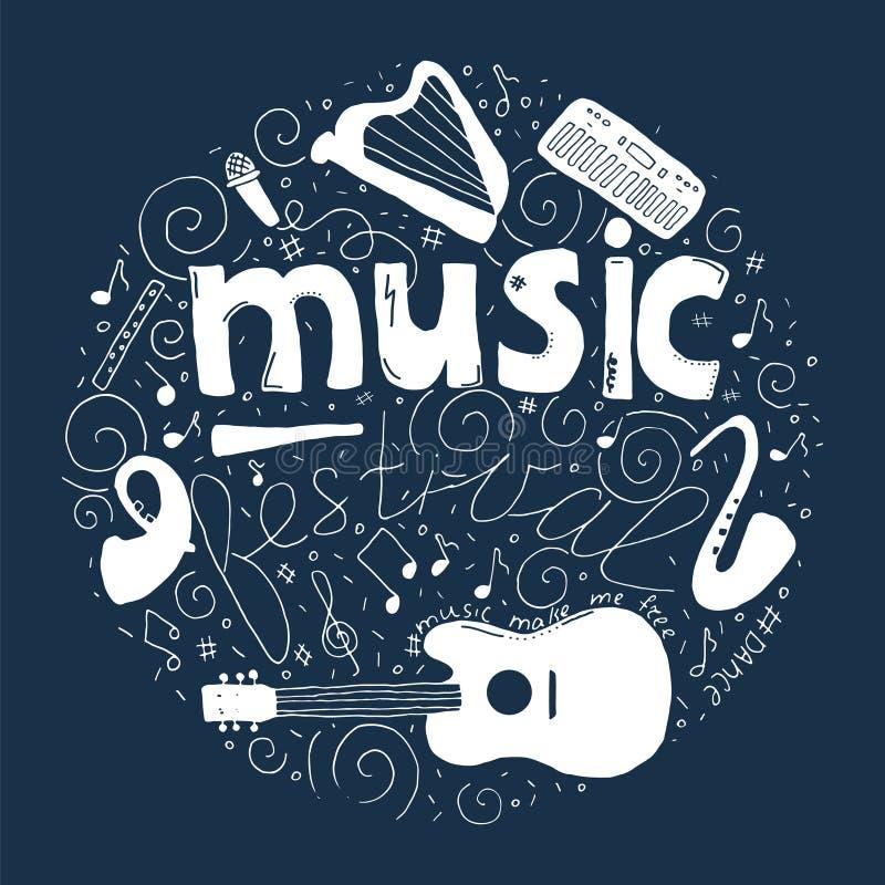 Concept de festival de musique dans le style dessiné de griffonnage de cercle à disposition illustration stock