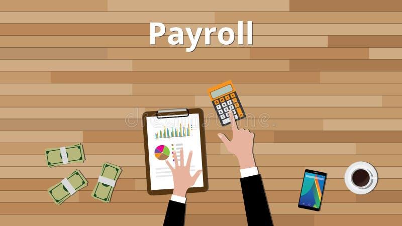 Concept de feuille de paie avec l'homme d'affaires travaillant sur un certain document sur papier avec le document sur papier de  illustration stock