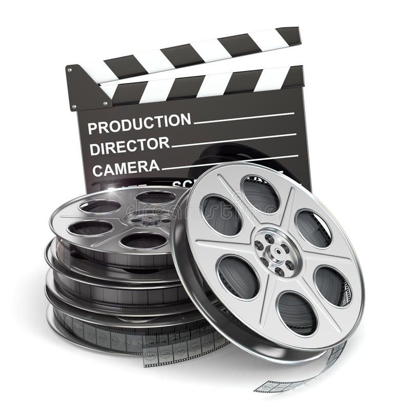 Concept de film Bobines de film et bardeau illustration stock
