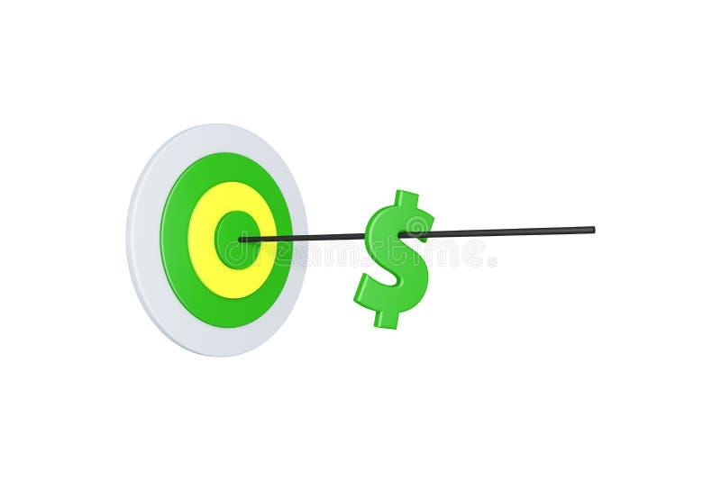 Concept de finances avec la cible et la flèche de but avec le symbole dollar sur le blanc illustration libre de droits