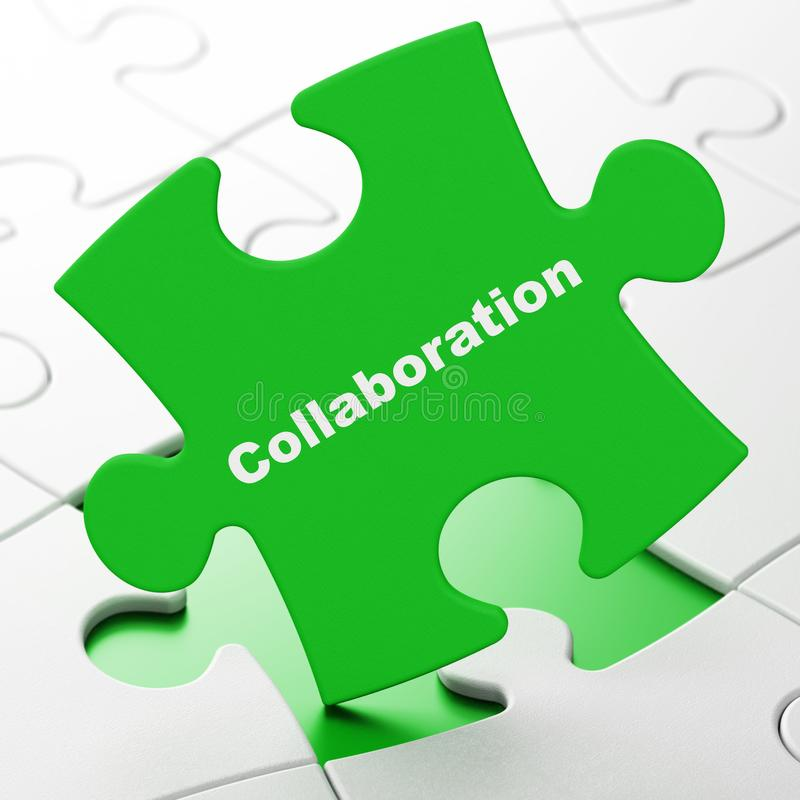 Concept de finances : Collaboration sur le fond de puzzle illustration de vecteur