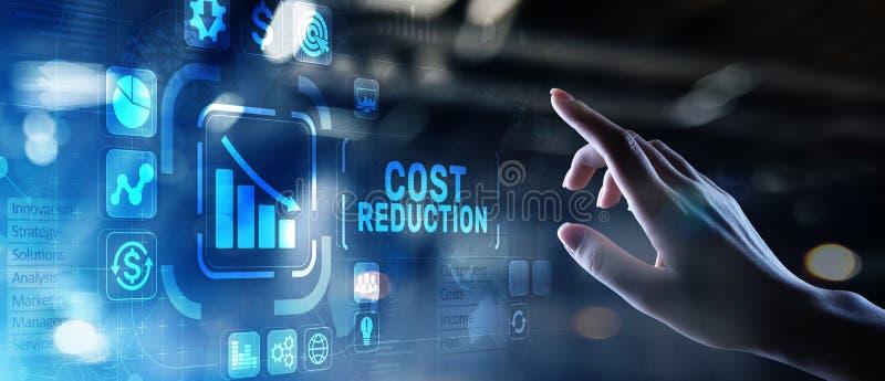 Concept de finances d'affaires de réduction des coûts sur l'écran virtuel image stock