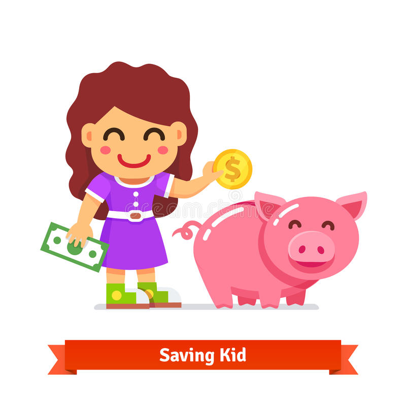 Concept de finances et d'épargne d'enfants illustration de vecteur