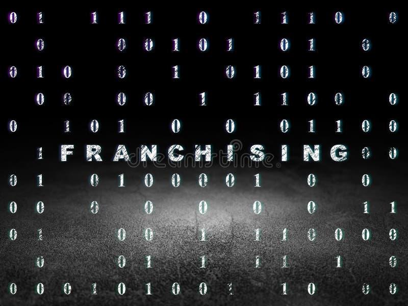 Concept de finances : Franchisage dans la chambre noire grunge photo libre de droits