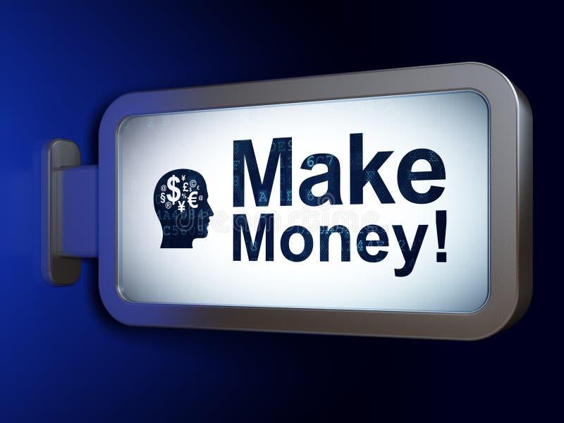 Concept de finances : Gagnez l'argent ! et dirigez avec le symbole de finances sur le fond de panneau d'affichage illustration libre de droits