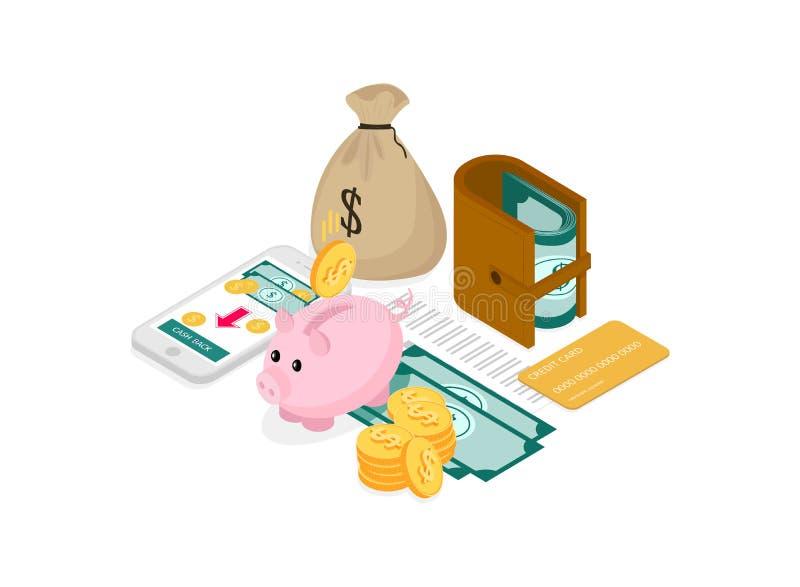 Concept de finances isom?trique illustration stock