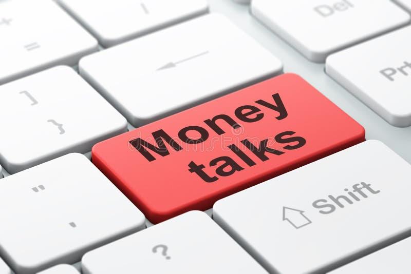 Concept de finances : L'argent parle sur le fond de clavier d'ordinateur illustration de vecteur