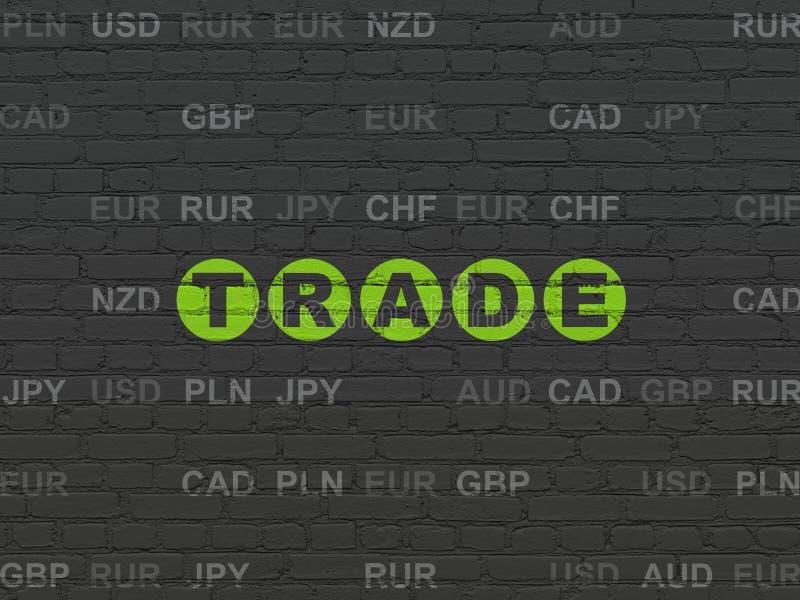 Concept de finances : Le commerce sur le fond de mur illustration de vecteur