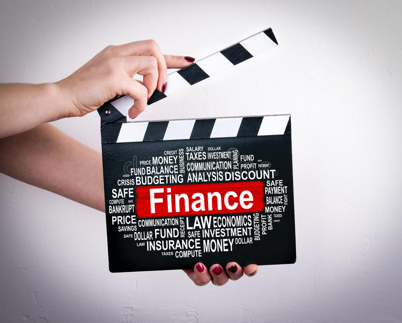 Concept de finances Mains femelles tenant le clapet de film photos libres de droits