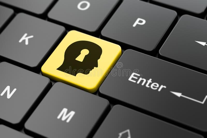 Concept de finances : Tête avec le trou de la serrure sur l'ordinateur photos libres de droits