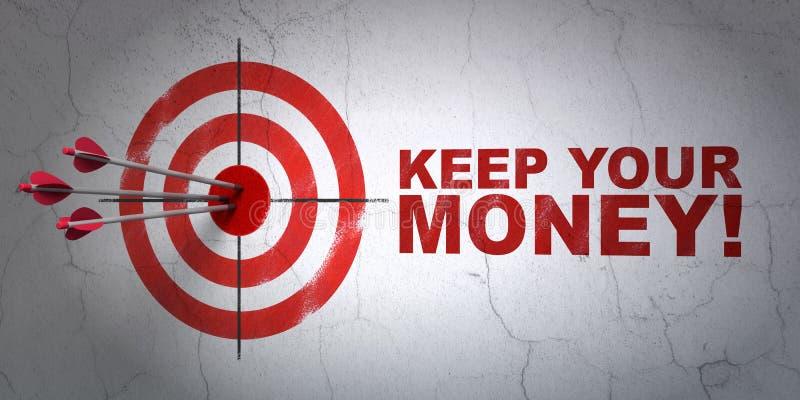 Concept de finances : visez et gardez votre argent ! sur le fond de mur illustration de vecteur